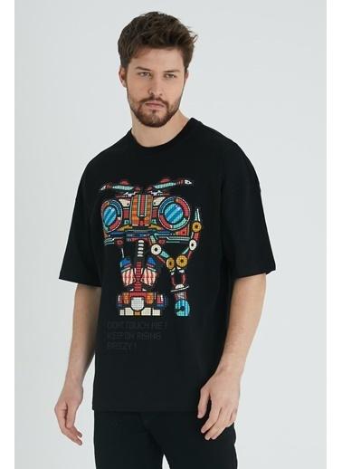 XHAN Hardal Robot Kafa Baskılı Oversize T-Shirt 1Kxe1-44642-37 Siyah